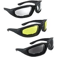 3 pares de anteojos para motocicleta gris, transparente y amarillo