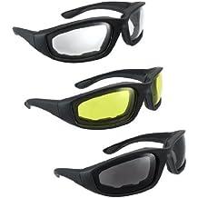 3 pares de gafas para montar motocicleta amarillo transparente haumado