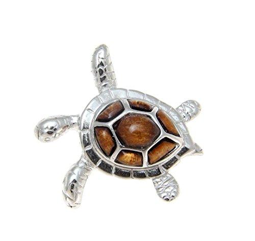 - Genuine Hawaiian koa wood sea turtle slide pendant 925 sterling silver 23mm