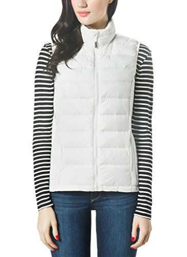 XPOSURZONE Women Packable Lightweight Down Vest Outdoor Puffer Vest, White, Small