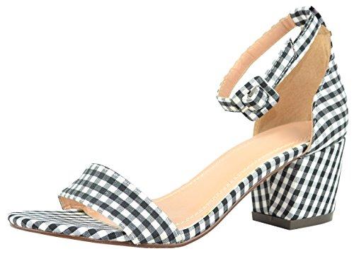Cambridge Select Womens Open Toe Single Bank Ankle Strappy Block Mid Heel  9 B M  Us  Black White Plaid