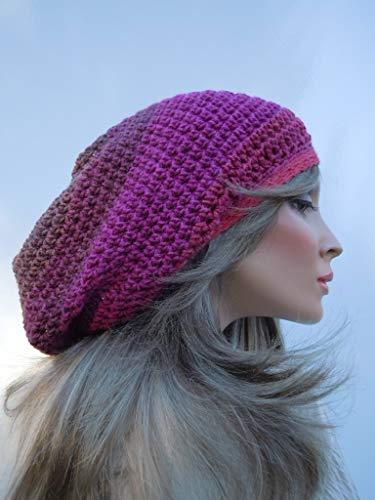 Dreadlock Tam, Rasta Tam Cap, Hippie Hat, Bag Hat, Multi Colors Cap, Rasta Hat, Fuschia and Taupe Tam, Plum Shades Rasta, Soft Colors Hat