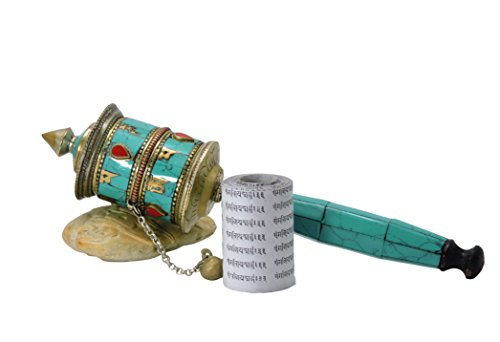 - Hand Crafted Copper Buddha of Compassion Prayer Wheel Inlayed Turquoise-Coral