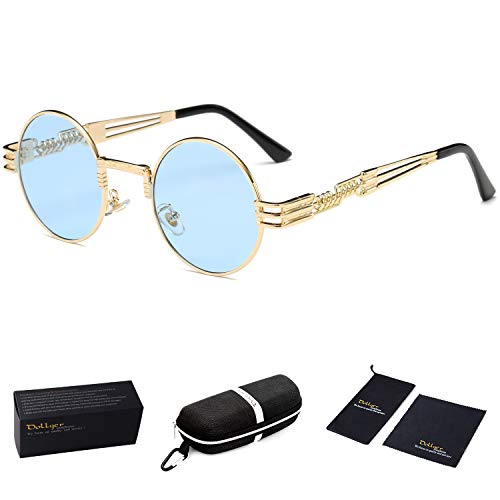 Dollger Transparent Blue Lens Steampunk Vintage Retro Round Sunglasses Metal Circle Gold - Metal Transparent Sunglasses