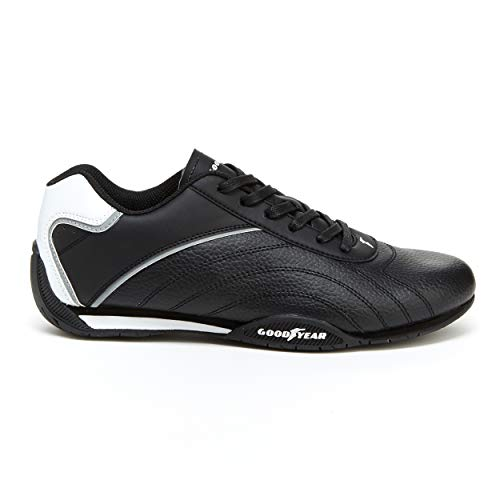 Goodyear Mens Ori Racer Sneaker - Low-Top Sneakers, PU Leather & Mesh Lining Black/White