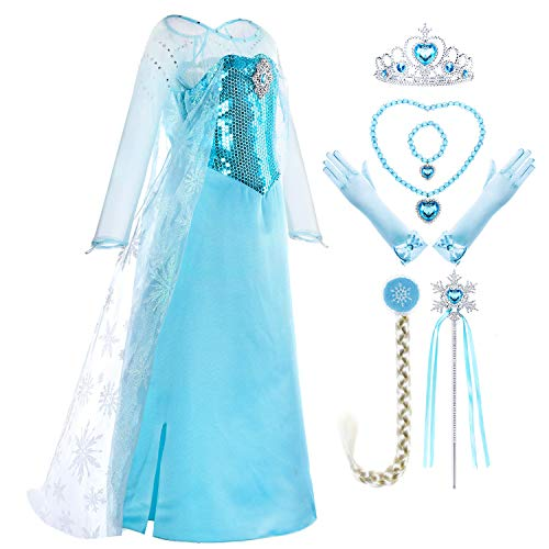 Snow Queen Ice Princess Elsa Costume Generic Dresses Dress Up with Long Braid and Tiara Accessories for Girls Birthday Party Size 5t 6t 6(L) (5~6 -