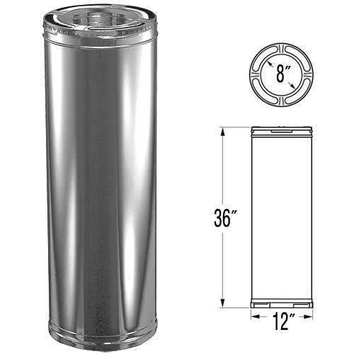 8'' x 36'' DuraPlus Stainless Steel Chimney Pipe - (Duraplus Chimney System)