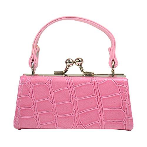 Crocodile Lipstick Case with Handle Mini Mahjong Coin Purse - Pink