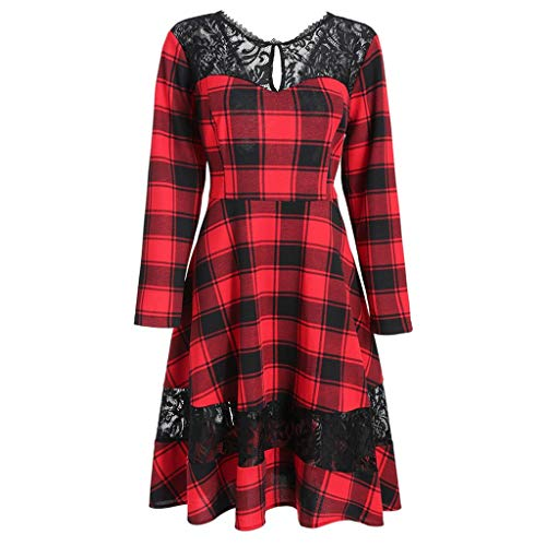 Wintialy Plus Size Vintage Casual Long Sleeve Pin Up Dress Red Plaid ...