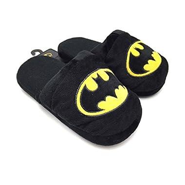 Batman Super Hero Cartoon Plush Slipper Mens DC Comics Warner Bro Black Small