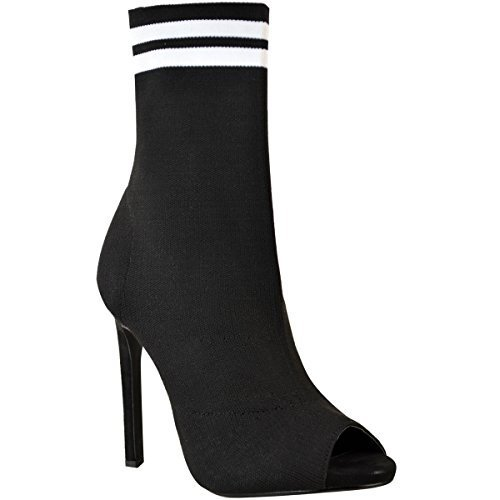 Fashion Thirsty Womens Ladies Stilleto High Heel Sock Boots Knit Stretch Sports Luxe Size Black Knit