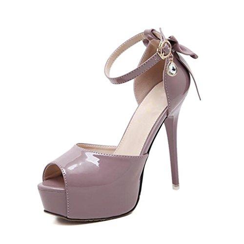 W&LM Mme Talons hauts Des sandales D'accord Bouche de poisson Des sandales Attacher Plateforme étanche Chaussure Purple