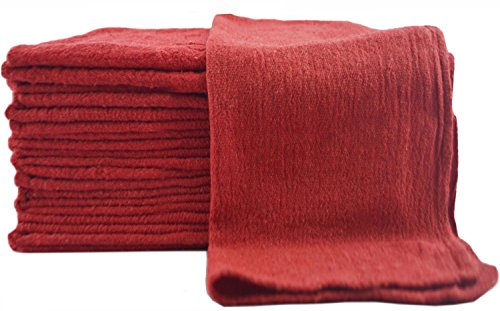 Shop Towels - (Pack of 100) - 13 x 13 Inches - Commercial Grade Machine Washable Cotton Washcloths Lint Free White Shop Rag - Perfect for Auto Mechanic Work and Bar Mop - by Utopia Towel (Red)