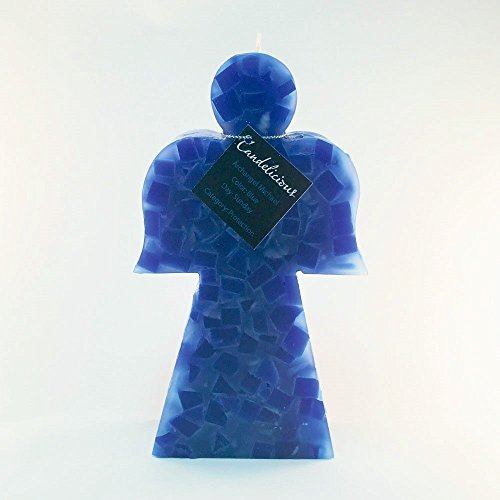 Candles Single Wick Blue Wax Chunks Angel Handmade Decorative, Archangel Michael, Holiday Present,Gift, Mother's Day. Hand Poured in Costa Rica. Candelicious.