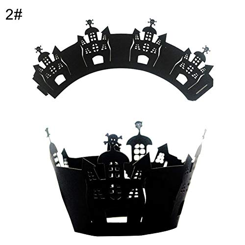 Birthday Cupcake - 12pcs Spider Web Cat House Paper Cupcake Wrappers Halloween Party Cake Decor - Icing Carrier Weddings Buddy Year Leaf Edible Baby Paper Beginners Letters Figurines -