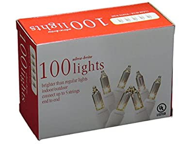 Holiday Essentials 100 Ultra-Brite Clear White Lights with White Wire - Indoor / Outdoor Use - UL Listed