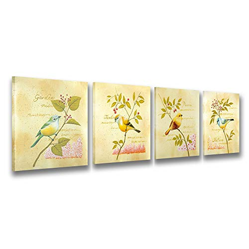 Natural art - Bird and flower Painting 4 pcs Wall Art Lanscape Painting Print on Canvas Wall Decoration Modern Abstract Painting Canvas Living Room Bedroom Office Wall Art Home Decoration with Frame