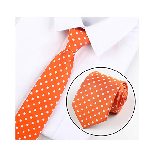 Men's Orange Polka Dot Graduation Silk Meeting Ties