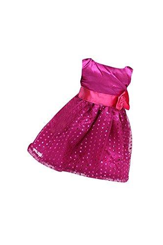 Yuchei Paillettes 18 Fucsia Americano Festa Ragazza Per Abito Senza rosa Rossa Il Bambole Maniche Pollici rrw4Aqxd
