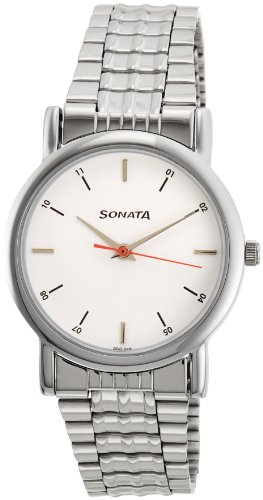 Sonata Analog White Dial Men's Watch -NJ7987SM03W