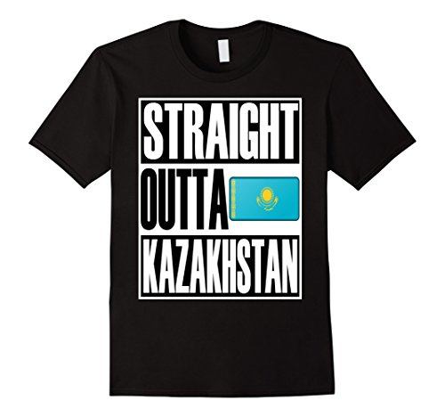 Men's Straight Outta Kazakhstan Quality Flag T-Shirt Small (Kazakhstan Flag T-shirt)