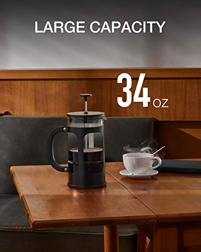 BAYKA French Press Coffee Tea Maker, 304 Stainless Steel Coffee Press with 4 Level Filtration System, Heat Resistant Thickened Borosilicate Glass, 34 Ounce, Black