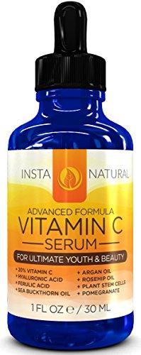 InstaNatural vitamine C Serum 20% pour le visage - avec l'acide hyaluronique, acide férulique, huile de rose musquée, argousier huile et vitamine E - Best Anti Aging Sérum Facial garanti - 1 OZ