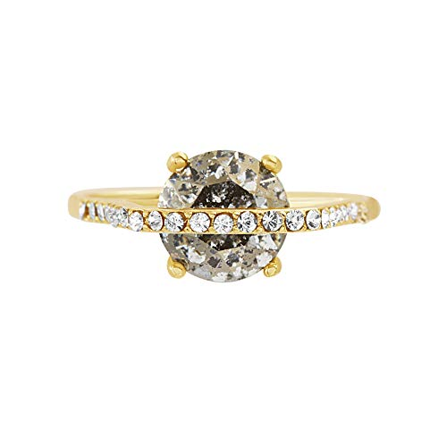 Devin Rose Stackable Band Ring Set for Women In Yellow Gold Plated 925 Sterling Silver Made With Golden Shadow Swarovski Crystal (Large Round Size 8)