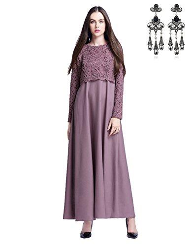 MODETREND Mujer 2017 Moda Nuevo Vestidos Túnicas de Encaje Banquete Vestido Largo Verano Morado
