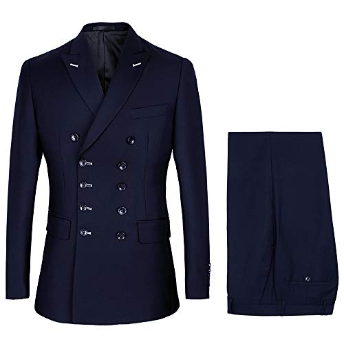 MAGE MALE Men's 2 Piece Double-Breasted Suit Slim Fit Wedding Party Blazer Jacket & Trousers Business Tuxedo Set Dark Blue