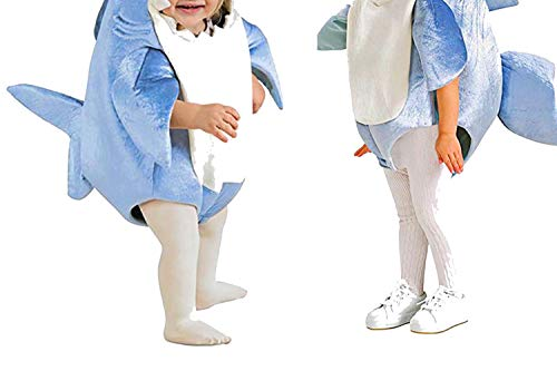Blue Shark Costume Party Mascot Animal Costume Jumpsuit Halloween Fancy Dress Mascotte Jumpsuit boy,L -
