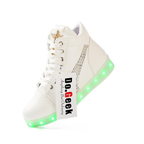DoGeek Light Up Shoes Men Women LED Shoes Shining Sneakers (Choose One Size up) White QsxkWF