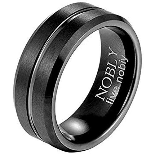 Nobly 8mm Mens Black Tungsten Wedding Bands Carbide Rings with Black and Silver Plated Bevel Edge Brushed Concave 2 Pieces Same Size 7