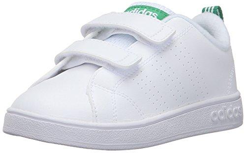 adidas Kids' VS Advantage Clean Sneaker, White/White/Green, 3 M US Infant - Adidas Infant Sneakers
