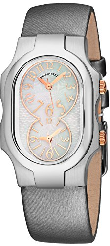 Philip Stein Signature Womens Stainless Steel Dual Time Zone Watch - Mother of Pearl Face Natural Frequency Technology Ladies Watch - Silver Satin Leather Band Analog Quartz Watches for Women