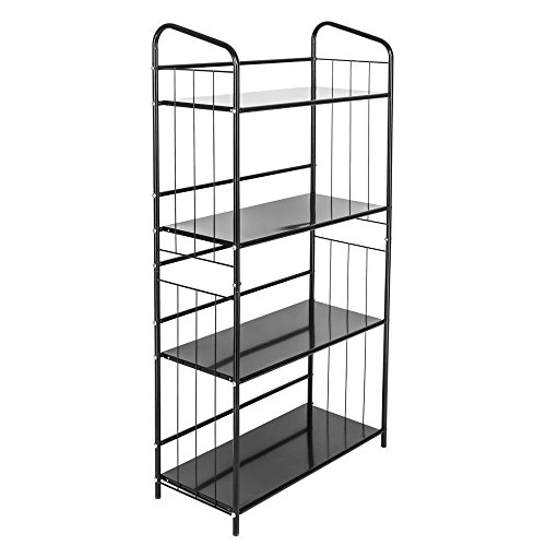 Cirocco 4 Tiers Bookcase Black - Freestanding Tower Rack Display Shelf - Organizer Storage Shelving Unit | Heavy Duty Iron Construction Durable Spacious | For Home Office Workplace Bedroom Living Room