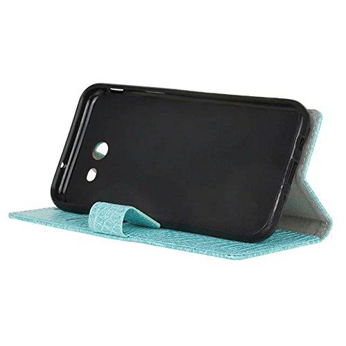 JIALUN-Personality teléfono shell Para Samsung Galaxy J5 2017, con ranuras para tarjetas y caja tragamonedas y soporte TPU Funda interior funda para monedero con tapa giratoria Seguridad y Moda ( Colo Green