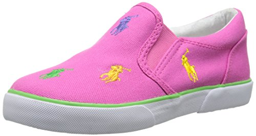 Polo Ralph Lauren Kids Bal Harbour RPT Slip-On Sneaker (Toddler/Little Kid),Pink - Pink (Fuchsia),4 M US Toddler (Toddler Fuchsia Canvas Footwear)