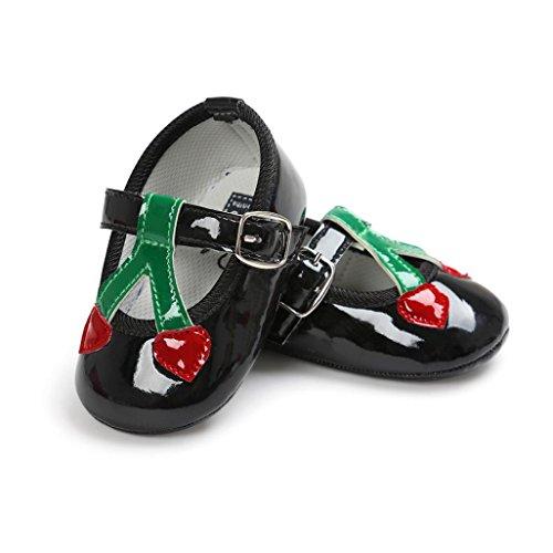 Igemy Baby Kirsche Prinzessin Weich Sohle Schuhe Kleinkind Turnschuhe Beiläufig Schuhe Black