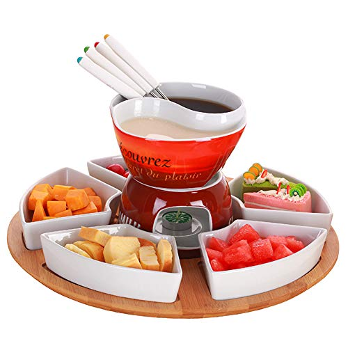 Ceramic Chocolate Fondue Set With 4 Forks, Multi-purpose Fruit Platter, Wooden Tray