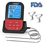 Food Thermometers, TURATA Meat Thermometer with Water-Proof Dual Probe Kitchen Thermometers for BBQ Wireless Cooking Thermometer (Black)