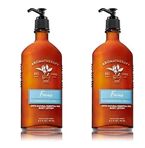 Bath and Body Works 2 Pack Focus Aromatherapy Essential Oil Body Lotion 6.5 Oz.Eucalyptus & Tea.