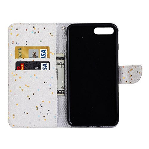 MXNET Iphone 7 Plus Fall, Glitter Powder Leder Tasche mit Halter & Wallet & Card Slots CASE FÜR IPHONE 7 PLUS ( Color : White )