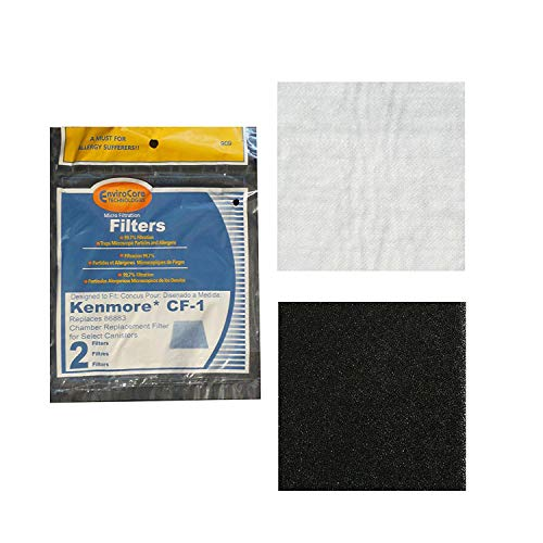 Secondary Filter Upright (4 CF1 Foam Secondary Filters Replace 86883, 86880, 20-86883, 8175084, 20868 Fit Kenmore Progressive & Whispertone Canister Vacuum Cleaners)