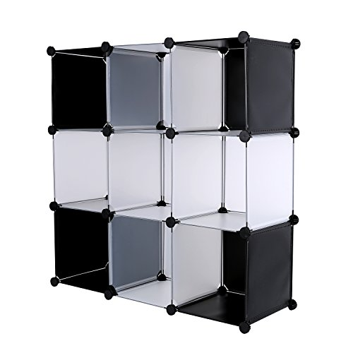 C&AHOME DIY 9 Cube Bookcase Media Storage Organizer Shelf Toy Rack Closet (White Cross) 9 Media Unit