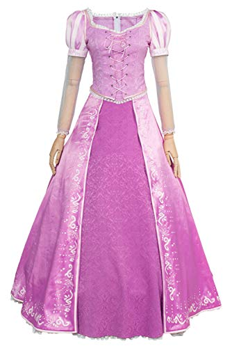 Rapunzel Dress For Adults (Sidnor Tangled Halloween Cosplay Costume Princess Rapunzel Dress Ball Gown Outfit)