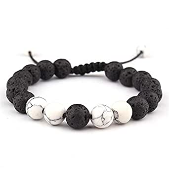LALANG Lava Rock Stone Essential Oil Anxiety Diffuser Adjustable Bracelet Unisex with White Pine Stone