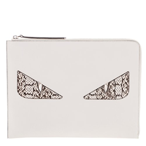 Fendi Women's Croc-Embossed 'Bag Bugs' Clutch White White