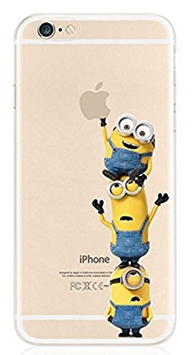 Cartoon Movie Character Themed Fan Art CLEAR Hybrid TPU Surround with Hard Back Cover Case for iPhone Range (Minions together, iPhone 5/5S/SE)