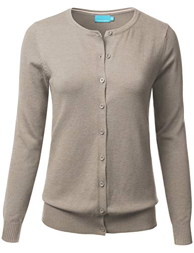 FLORIA Women's Button Down Crew Neck Long Sleeve Soft Knit Cardigan Sweater Camel - Cardigan Camel